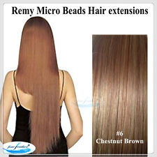 "22"" India Remy Micro Beads Hair extensions 100pcs #6 Chestnut Brown DOUBLE DRAWN"