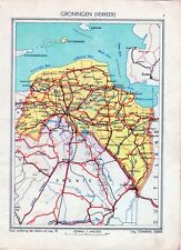 Antique map Groningen traffic verkeer Netherlands 1936