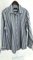 Bugatchi Uomo Mens XL White & Blue striped Long Sleeve Button Front H-95