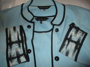 MING WANG Women's XL Light Blue/Black Trim Open Front Cardigan & Shell Set