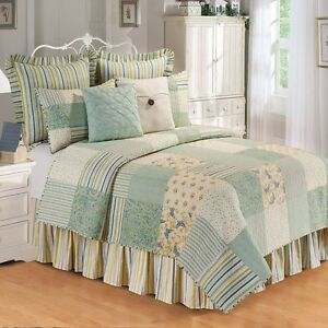 April Showers Patchwork Queen Size Quilt-Spring Green with Blue Butterfles-C&F