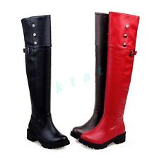 Gothic Womens fashion over knee boots buckle rivets flat heel shoes plus sizes