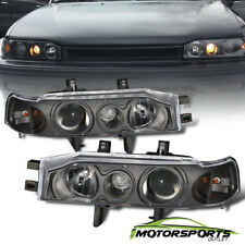 For 1990 1991 1992 1993 Honda Accord Projector Black Headlights Head Lamps Pair