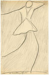 ABRAHAM WALKOWITZ, ISADORA DUNCAN XII', pencil, 1918