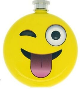 5 Fl Oz winking Emoji Face Drinking Flasks Booze Smugglers DCI Yellow Face NEW