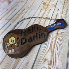 Vtg Twitty Ville Titi Oiseau Hello Darlin' Bois Guitare Musique Mural Décor