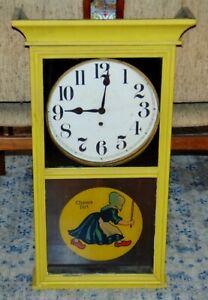 RARE! Advertising Clock GILBERT 3022 Reverse Painted Glass OLD DUTCH CLEANSER
