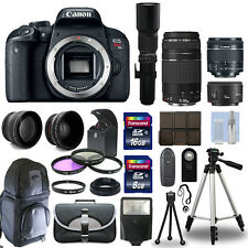 Canon EOS Rebel T7i / 800D + 6 Lens 18-55 STM, 75-300, 50, 500 + 24GB PRO KIT!