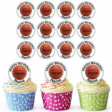 24 Pre-Cut Basketball Edible Birthday Cupcake Toppers Boys Girls Any Name & Age