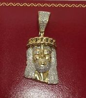 Large 10k Yellow Gold 200 Diamond Pave Jesus Head Christ Religious Charm Pendant