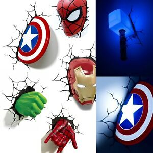 Wand LED Lampe Marvel Dekoratives Licht Hulk Captain America Thor Spider-Man