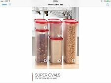 Tupperware Modular Mates 5pc Ovals Set  Red Seals Organize Pantry New