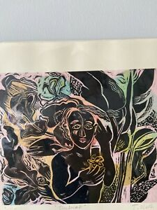 """Jenny Ulrich """"Daybreak"""" artwork  lino cut with chine colle, picture, modern art"""