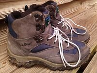LL Bean  OHR89 Suede Leather Hiking ankle Boots Womens 7.5 M gray blue