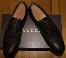 AUTHENTIC! $595 GUCCI COCOA CIRANO LUX LACE UP LEATHER SHOES SZ 9.5 uk/ 10.5us