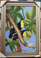 TOUCAN LONG BEAK BIRD HAND PAINTED OIL PAINTING DECOR ART FM40