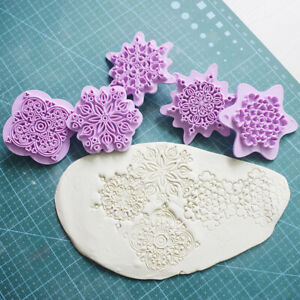 5Pc Mandala Lace Embossing Die Plastic Polymer Clay Sculpture Texture Stamp