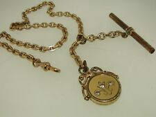 VICTORIAN GOLD FILLED HEAVY LINK WATCH CHAIN W/TOGGLE, T-BAR, FOB W/PASTE STONES