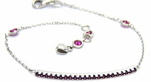 Bracelet White Gold 18KT Plate with Zircons Red