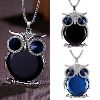 Fashion Women Charm Crystal Owl Sweater Chain Long Pendant Necklace Jewelry Gift