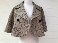 JACQUI E Cropped Tan & Black Embroidered Floral Dress Jacket - Size 10