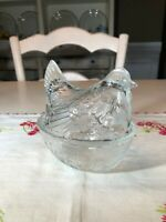 Vintage Hen on Nest Dish, Clear Glass with Basket Weave Design on Base