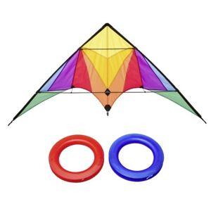 Invento Trigger Rainbow Stunt Kite Lenkdrachen 175cm Delta Flieger Stunt Drachen