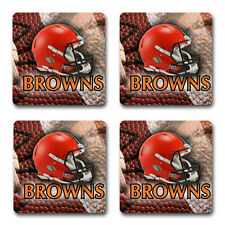 Cleveland Browns Rubber Square Coaster set (4 pack) Great Gift Idea SRC907