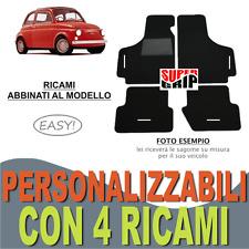 TAPPETINI AUTO SU MISURA PER FIAT 500 EPOCA MOQUETTE FONDO GOMMA + 4 RICAMI EASY