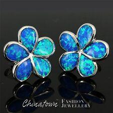 Plumeria Ocean Blue Fire Opal Inlay Silver Jewelry Stud Pierced Earrings