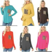 Women's Round Neck Long Sleeve w/ Leopard Pocket Perfect Fit Tee Shirt Top Sm-3x