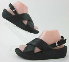 FitFlop 'LuLu' Slingback Criss Cross Sandals Black Leather US 7