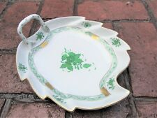 Herend Hungary Hand Painted Leaf Dish Apponyi Green 200/AV Chinese Bouquet