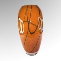 "Art Glass Vase Swirly Orange Black Hand Blown 12""T"