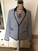 TU Ladies Navy Blue Ivory Stripe Single Breasted Tailored Cotton Blazer Size 14