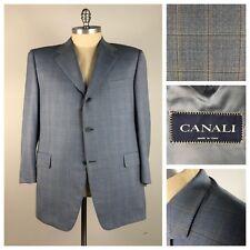 Canali Mens Blazer Size 60 IT 50L US Blue Wool Check Dual Vent