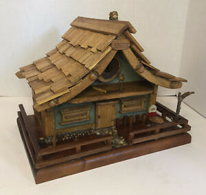 Large Hand Crafted Made Solid Wood Bird House Cabin HIGHLY DETAILED Super Cute