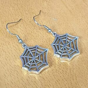 Hypoallergenic Surgical Steel Earrings with Tibetan Silver Spider Web Charms