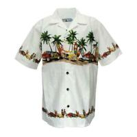 Men Aloha Shirt Cruise Tropical Luau Party Hawaiian White Vintage Cars Surf Palm