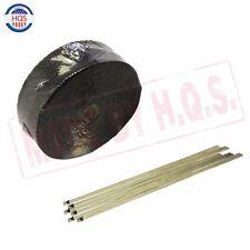 "NEW 2"" Black 50Ft Roll Exhaust Header Fiberglass Heat Wrap Tape + 6 Ties Kit"