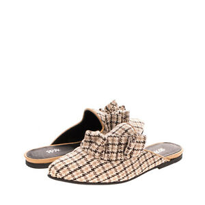 RRP€195 VIA VELA 14 Loafer Mule Shoes EU 39 UK 6 US 9 Houndstooth Made in Italy