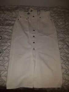 Levis Womens Ladies Button Throught Denim Skirt W30 White   New