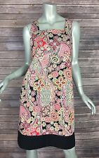 Evan Picone Sun Dress 1013 Womens Size 12 Red Black Floral Print Cotton