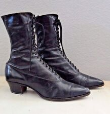 Woman's Vintage Black High Top Lace Up Boots