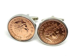 8th Bronze wedding anniversary cufflinks - Bronze 1p coins from 2013 Gift idea