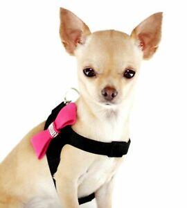 "CUTE DOG SM/M HARNESS BLACK / PINK BOW WITH DIAMANTE 16"" CHEST JACKS SHIH TZU"