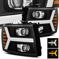 For 07-13 Silverado Black DRL/Signal LED Tube Projector Headlights Left/Right