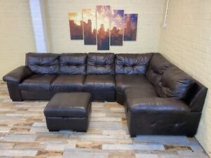 Huge Rustic Family Brown Leather Corner Sofa