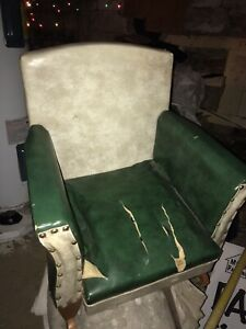 Vintage Green And White Leather Rocking Chair