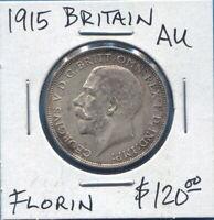 GREAT BRITAIN - FANTASTIC HISTORICAL GEORGE V SILVER FLORIN, 1915, KM# 817